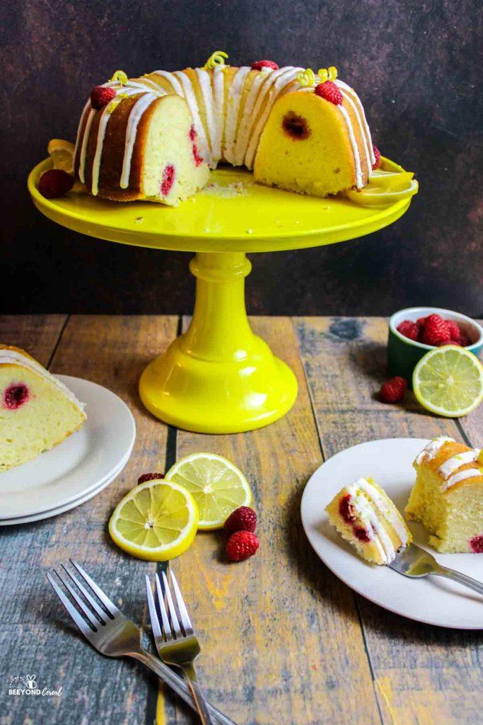 sliced Raspberry Lemon Bundt Cake