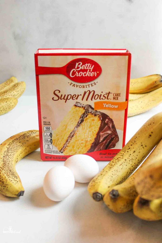 three ingredients needed to make banana bread cake mix eggs bananas