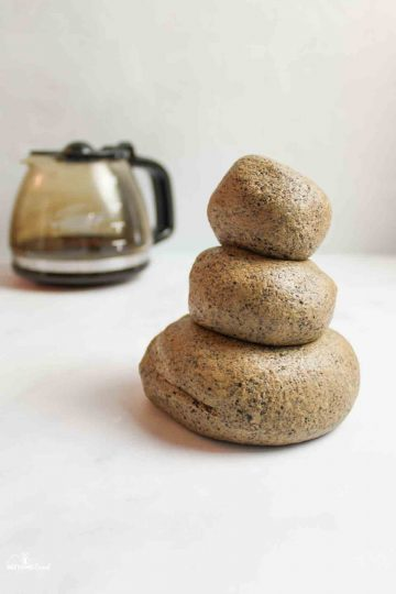 stacked balls of coffee playdough
