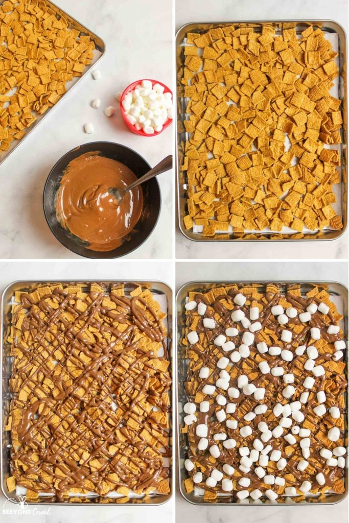 aerial view of smores mix in a baking sheet