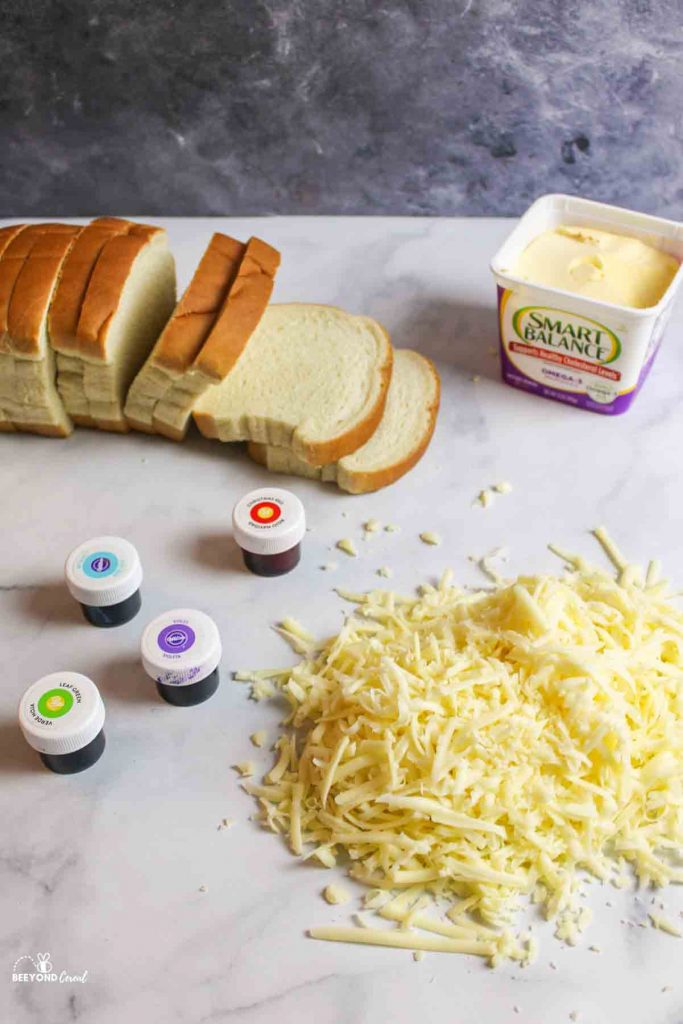 ingredients needed for rainbow grilled cheese sandwiches