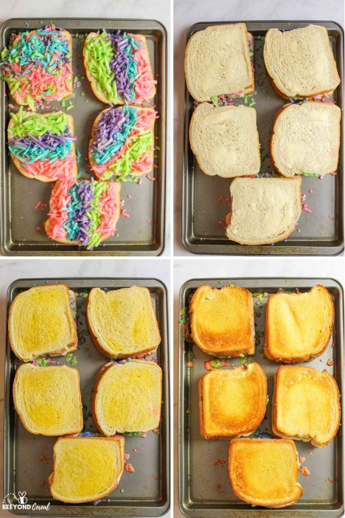 collage showing how to make baked rainbow grilled cheese