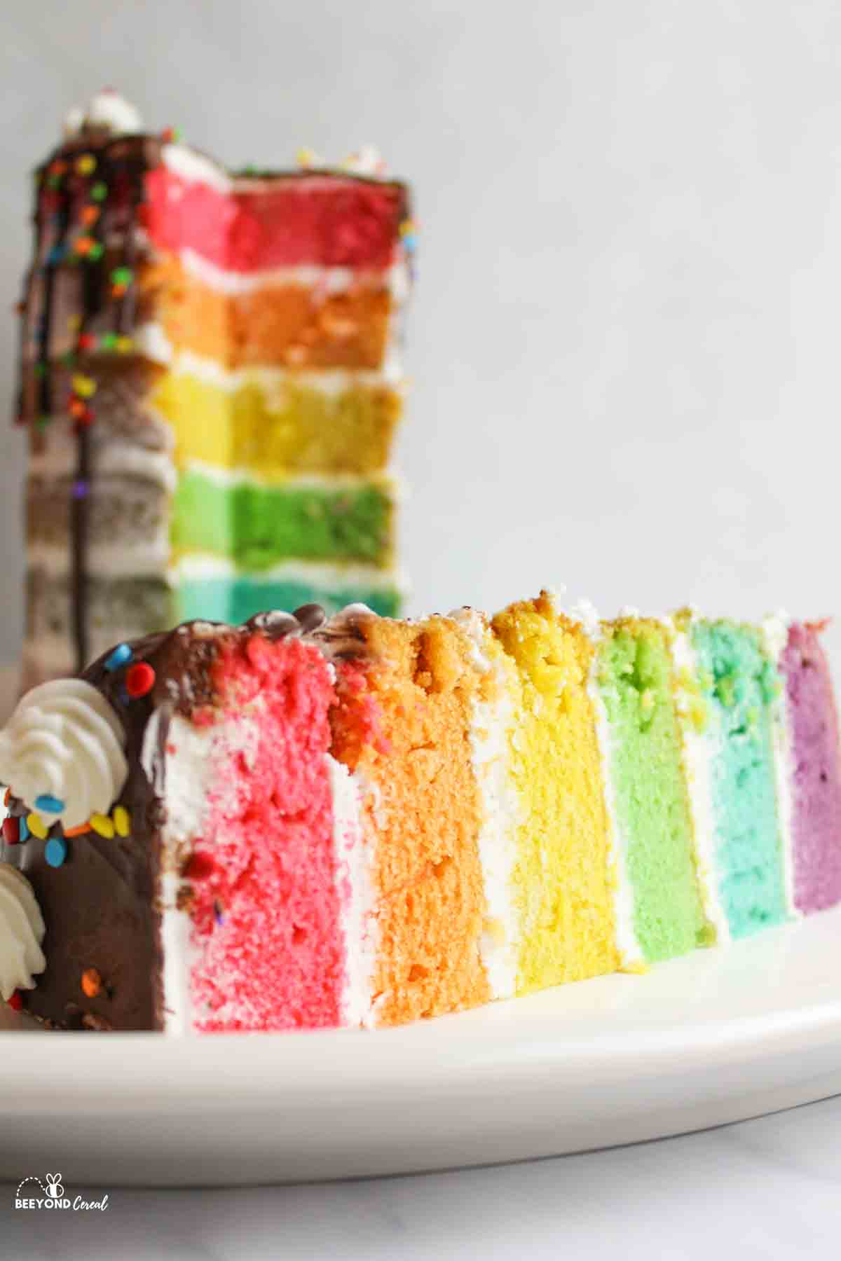 a slice of cake laying down in front of a remaining cake towering in background