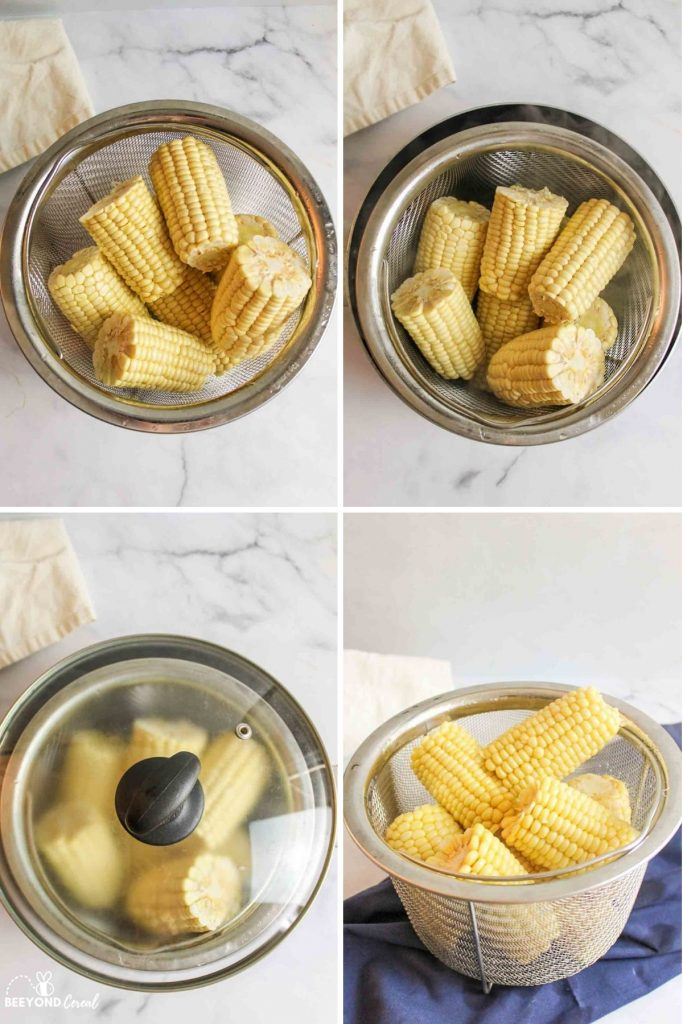 steamed corn on the cob on white plates