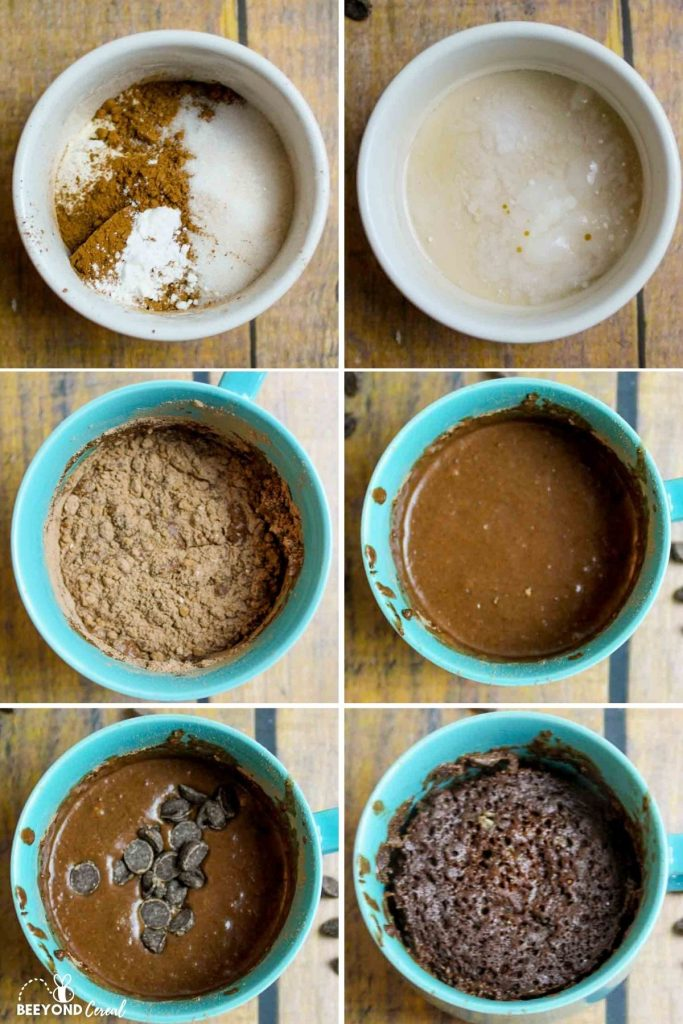 a collage showing how to mke vegan mug brownie