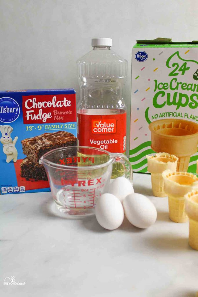 ingredients for brownie ice cream cones