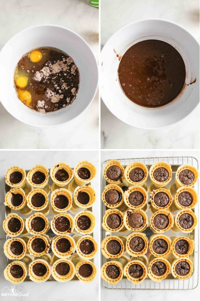 collage showing how to make brownie ice cream cones