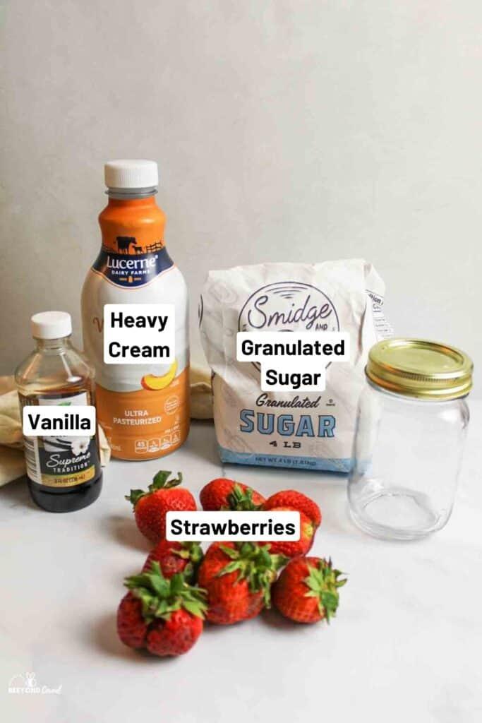 Ingredients needed for strawberry mason jar ice cream