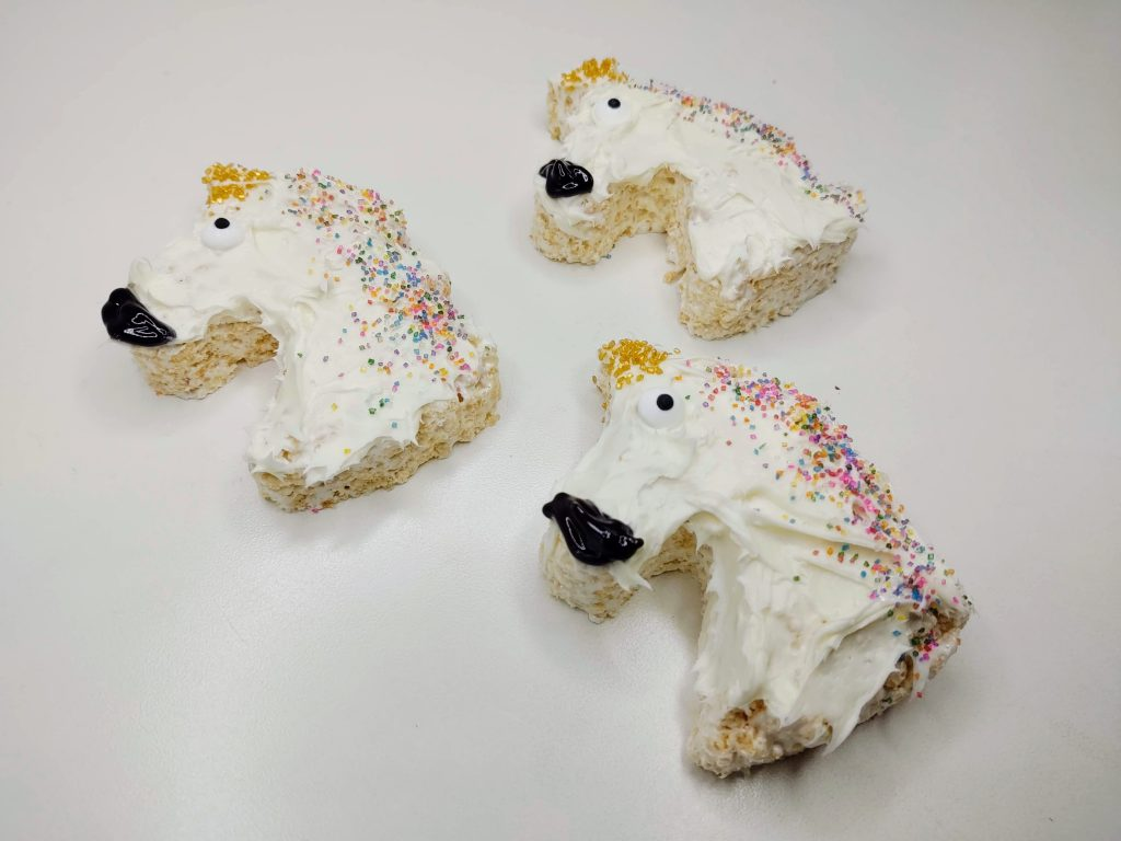 hand frosted unicorn krispie treats