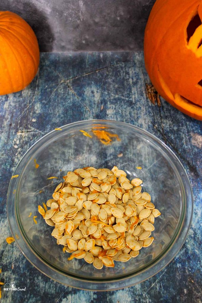 dirty pumpkin seeds straight from a pumpkin and placed into a glass bowl