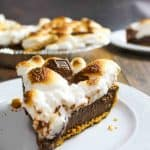 smores pie slice on white plate