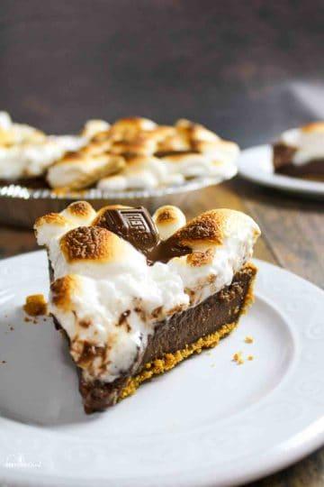 smores pie slice on white plate