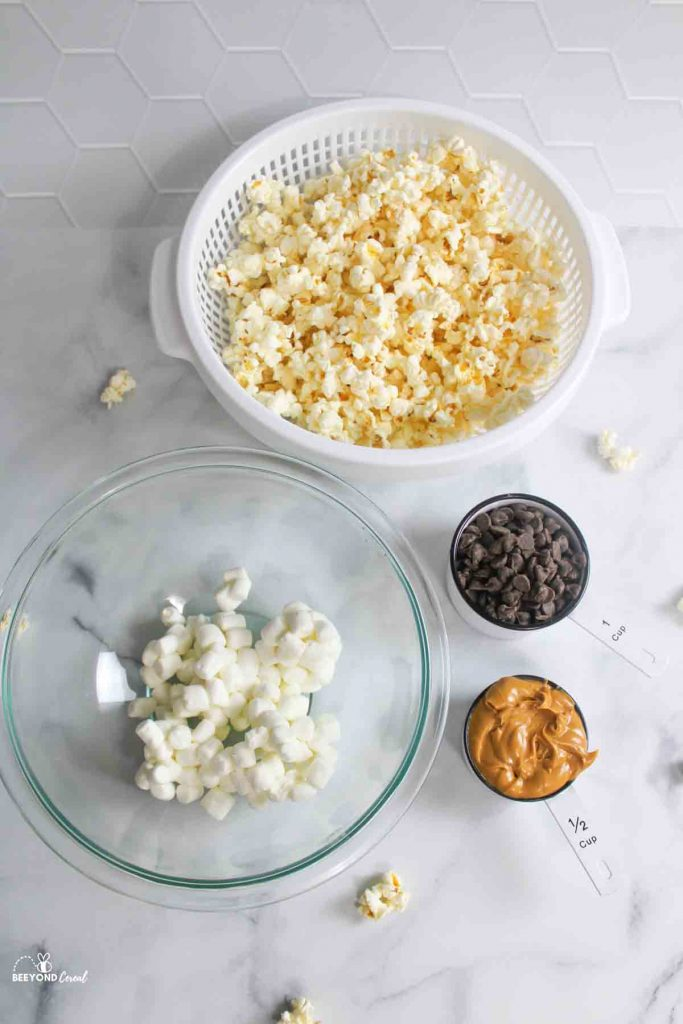 ingredients needed for chocolate peanut butter popcorn