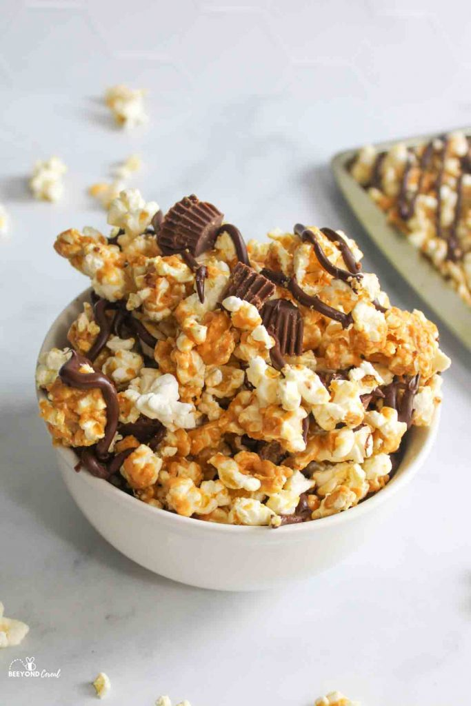 a bowl of peanut butter chocolate popcorn