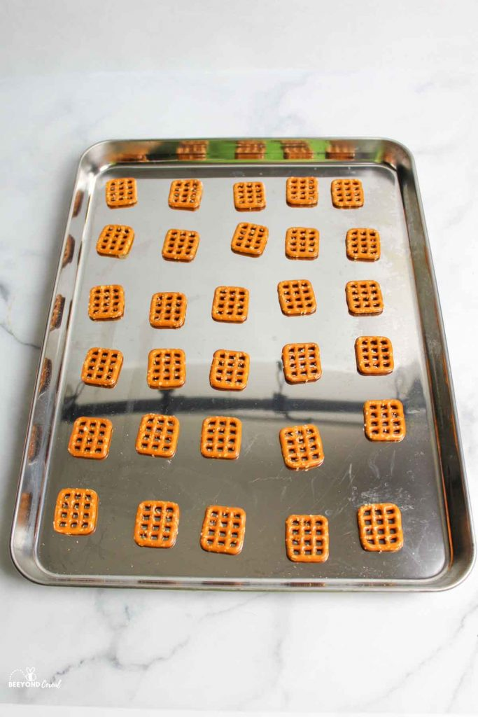 baking sheet with pretzels on top