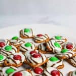 christmas pretzels with red and green M&Ms