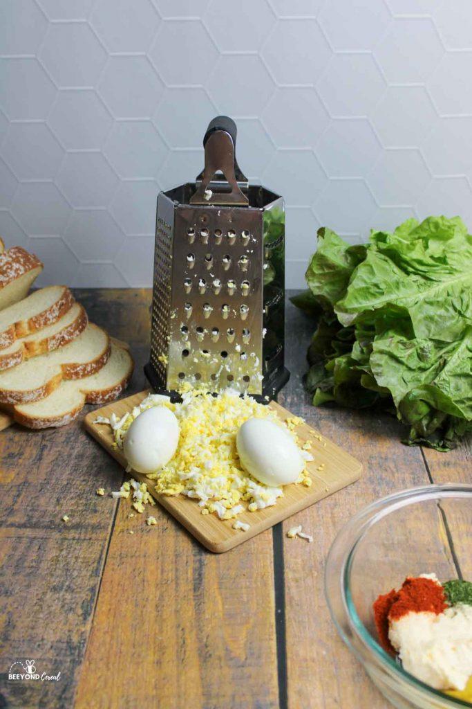shredded eggs for making egg salad