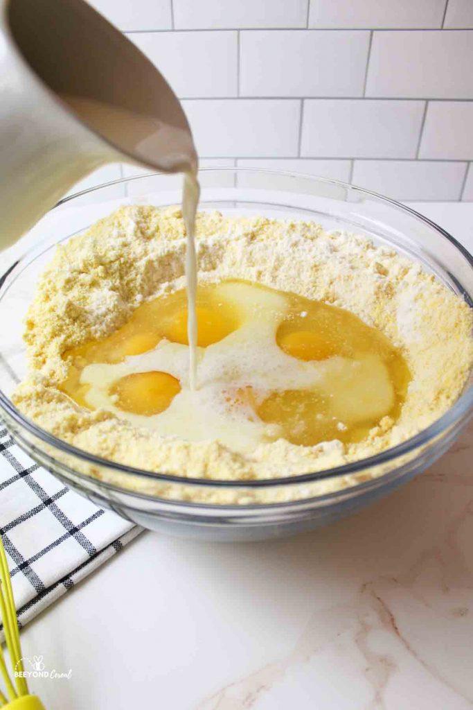 cornbread ingredients in bowl