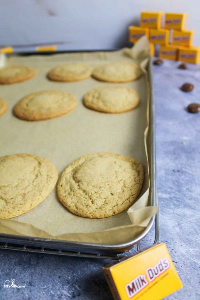 baked cookies on parchment lined baking sheet with milk dud boxes around it