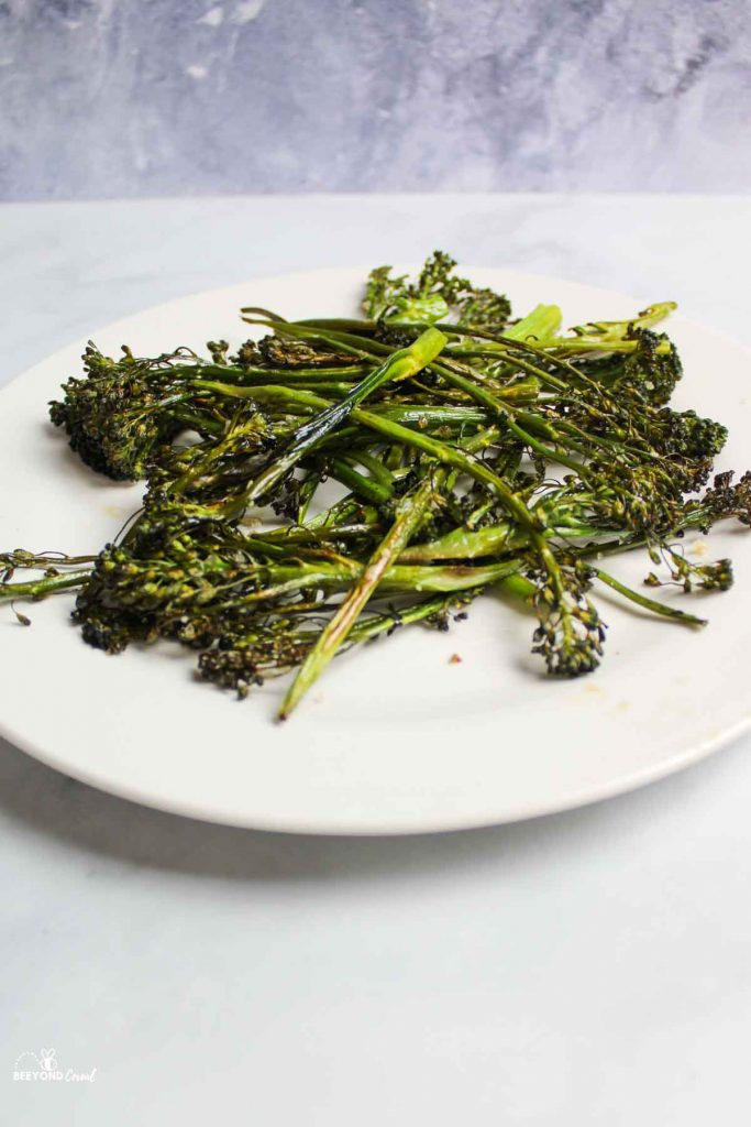 a plate of roasted broccolini