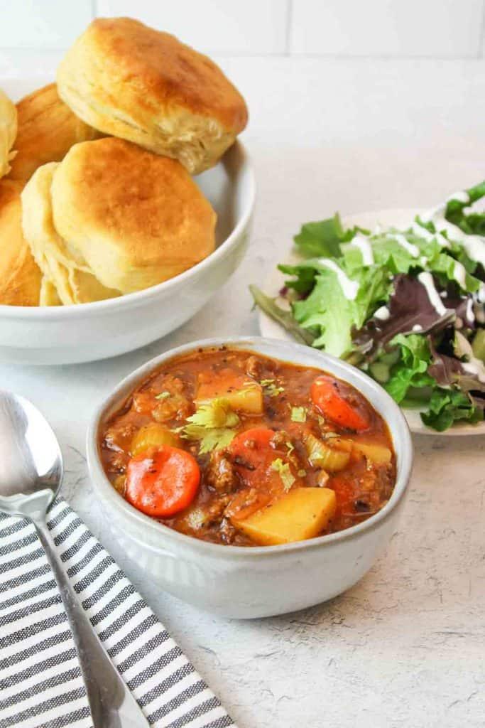 three bowls of stew
