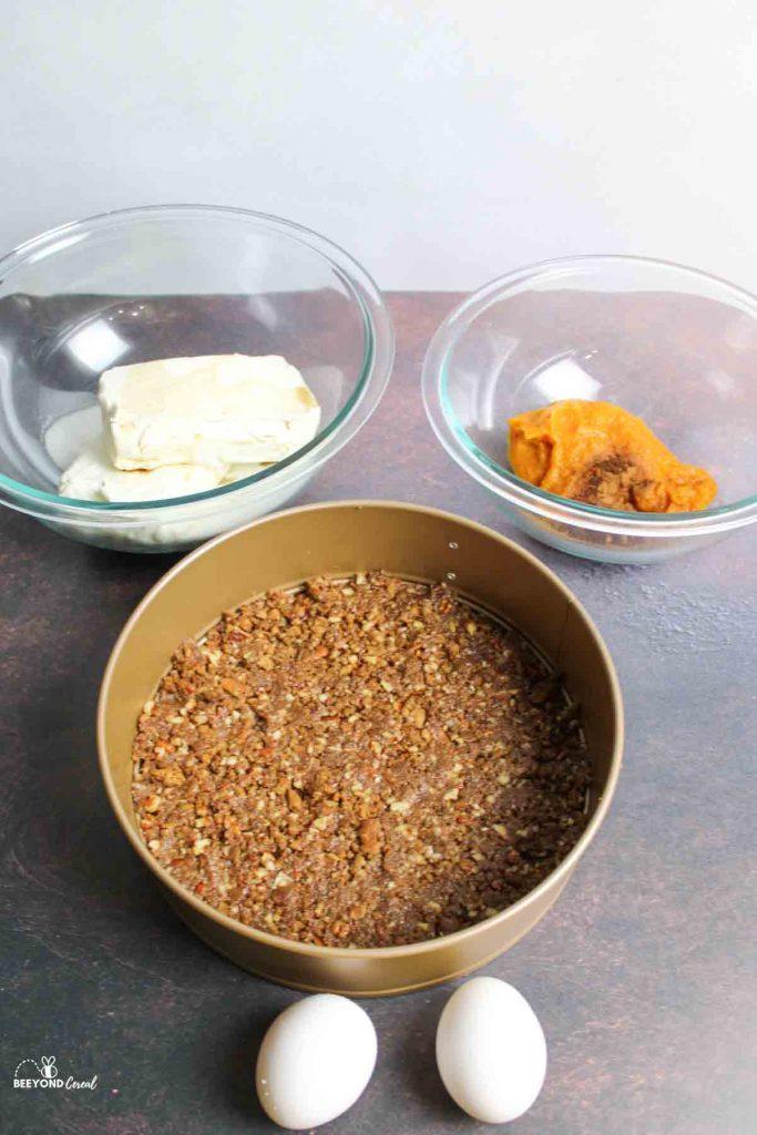 ingredients needed for pumpkin swirl cheesecake