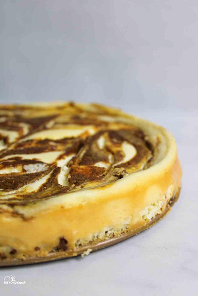 side view of pumpkin swirl cheesecake