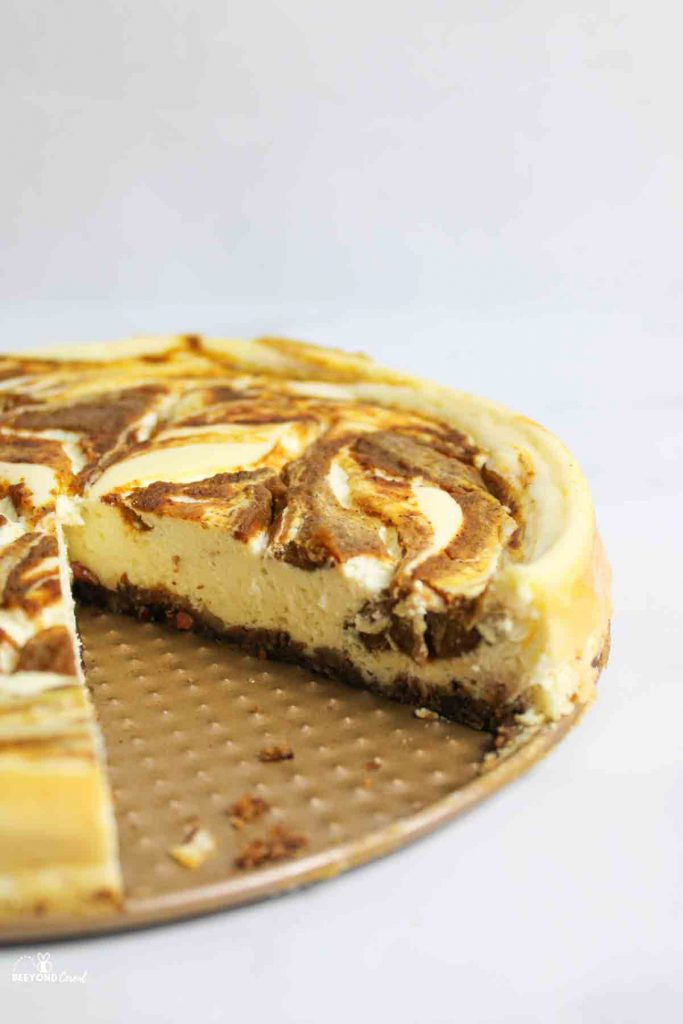a piece missing from the pumpkin swirl cheesecake