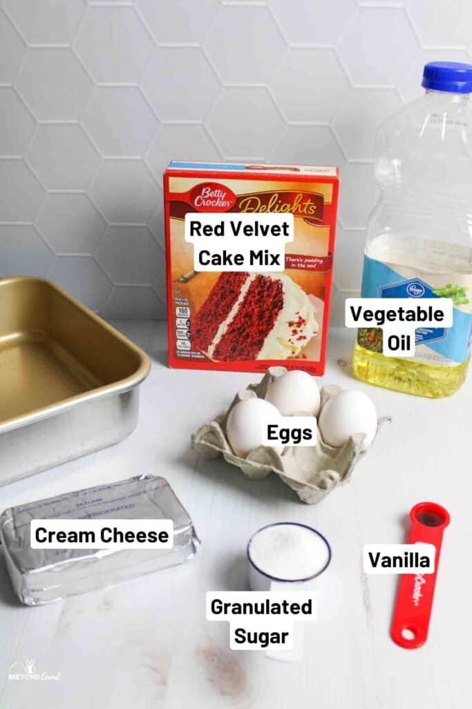 ingredients needed to make red velvet cheesecake brownies