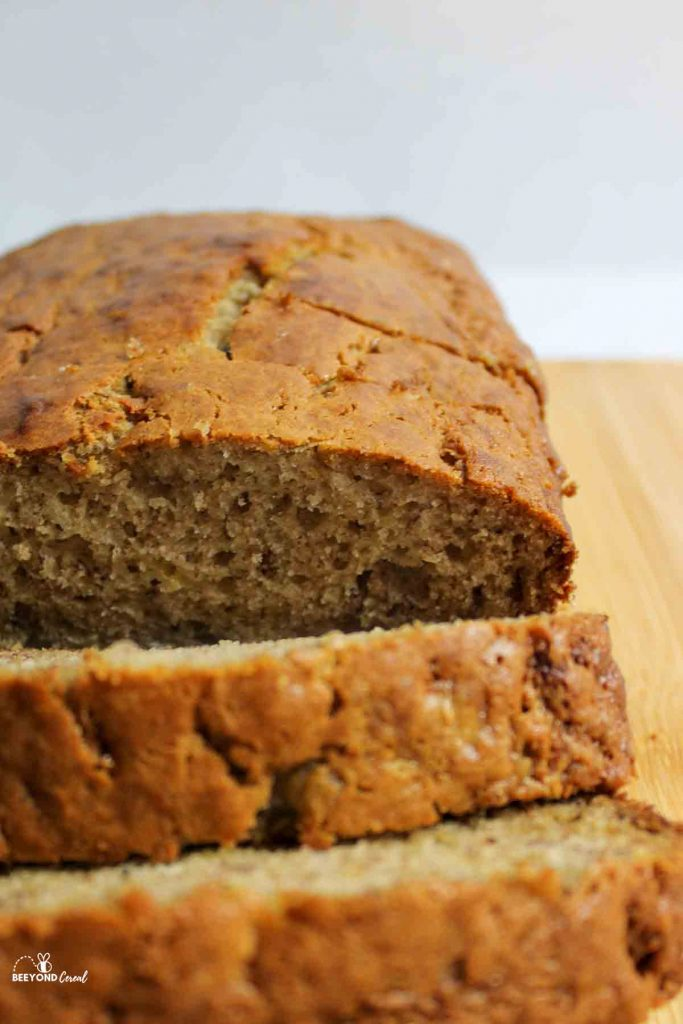 up close view of sliced banana bread from the front