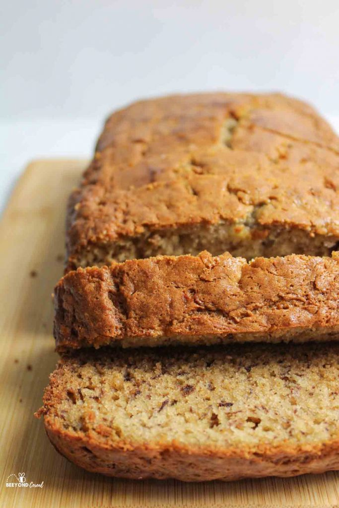 sliced banana bread from the front