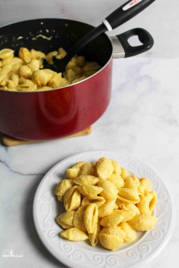 a white plate filled with macaroni and cheese and a pot with more inside in the background