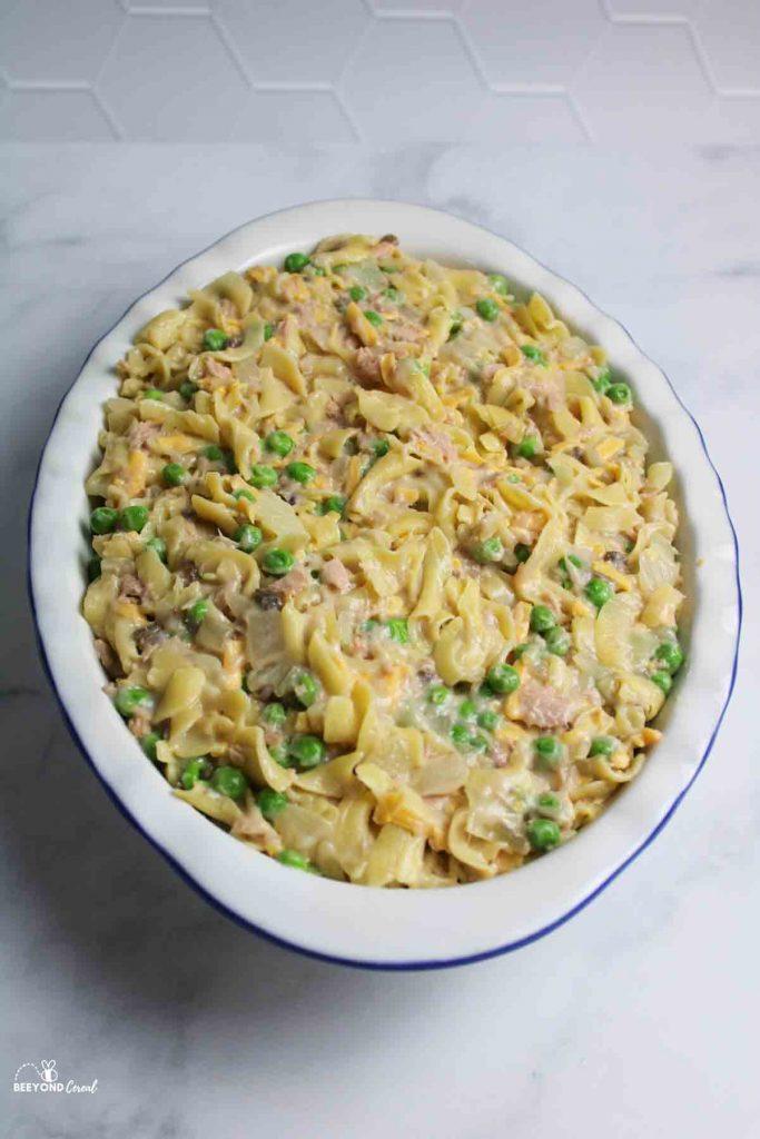 a casserole pan filled with tuna noodle casserole