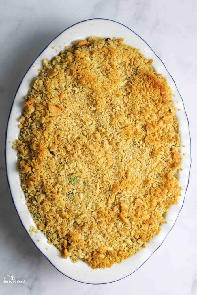 an aerial view of cooked tuna noodle casserole with ritz topping