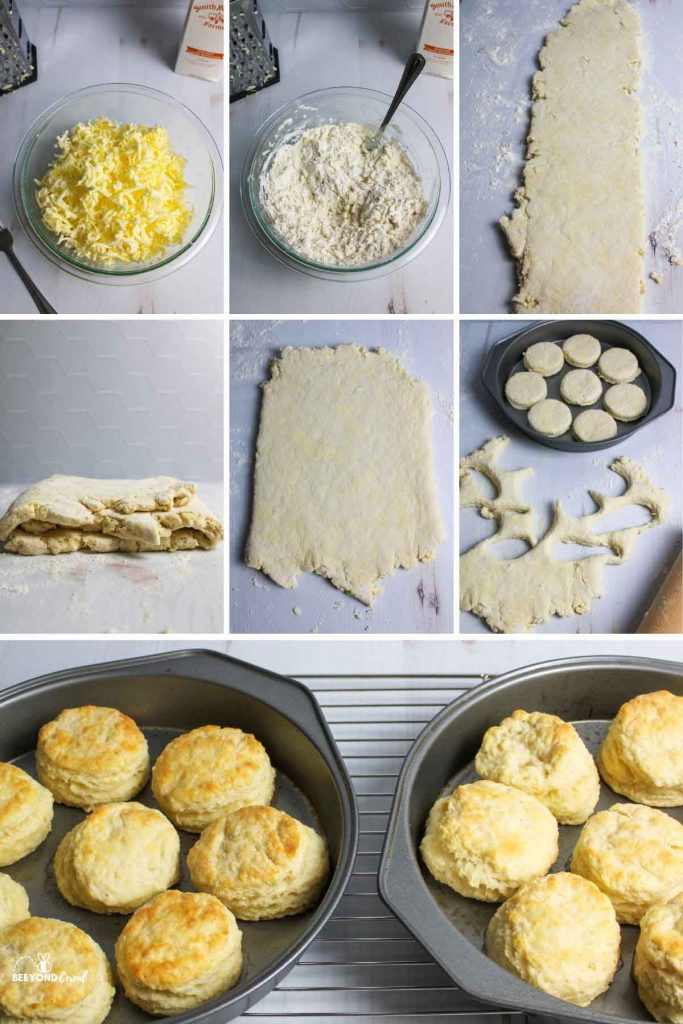 collage showing how to make 3 ingredient biscuits
