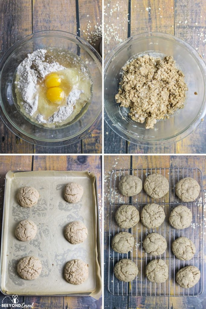 collage showing how to make oatmeal cookies