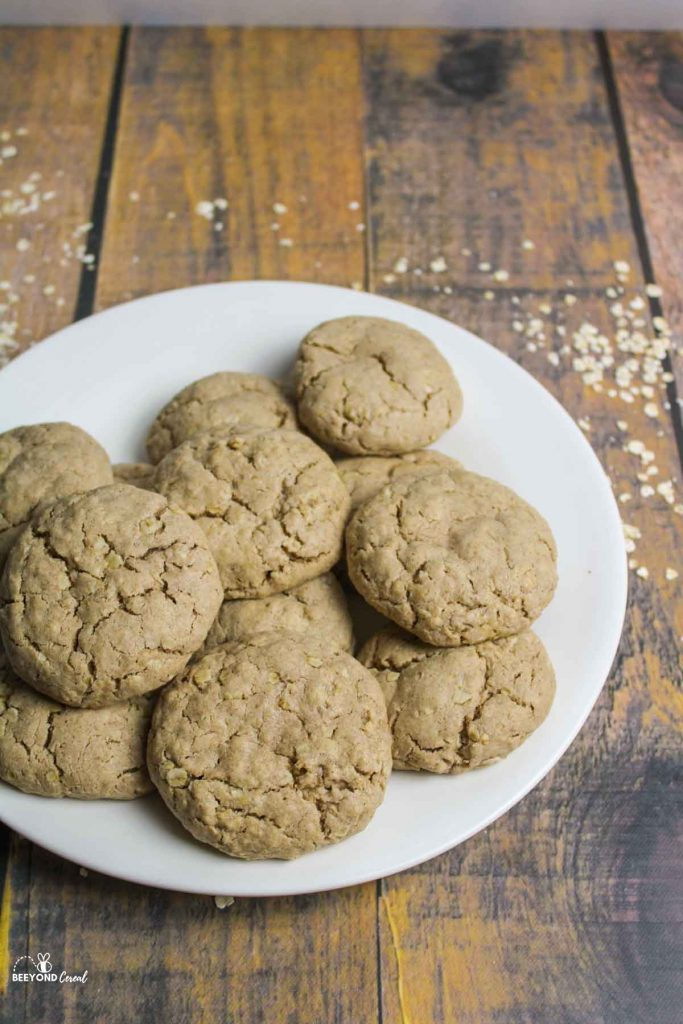 a plate filled with oatmeal cookies