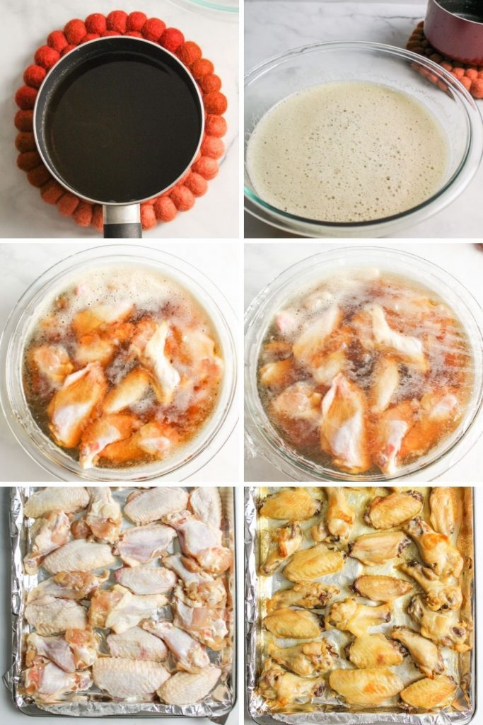 a collage showing how to make beer brined chicken wings