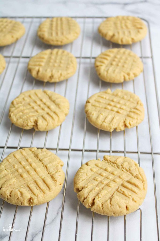 cake mix peanut butter cookies on a wire cooling rack