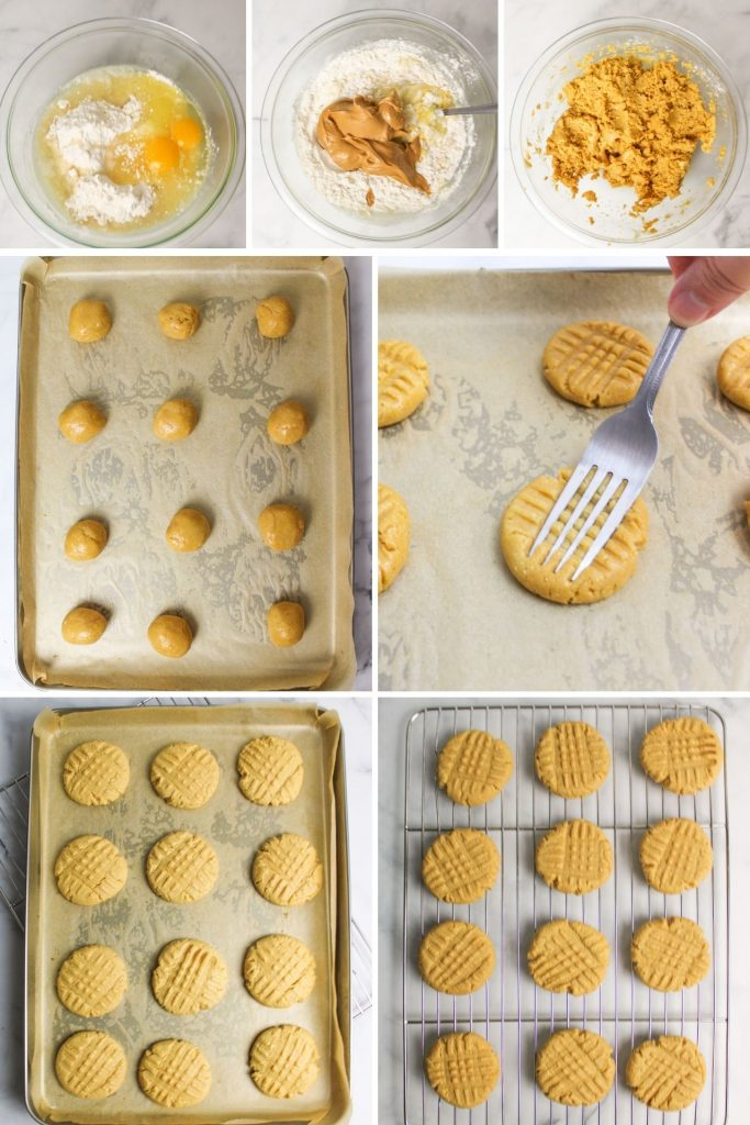 collage showing how to make cake mix peanut butter cookies