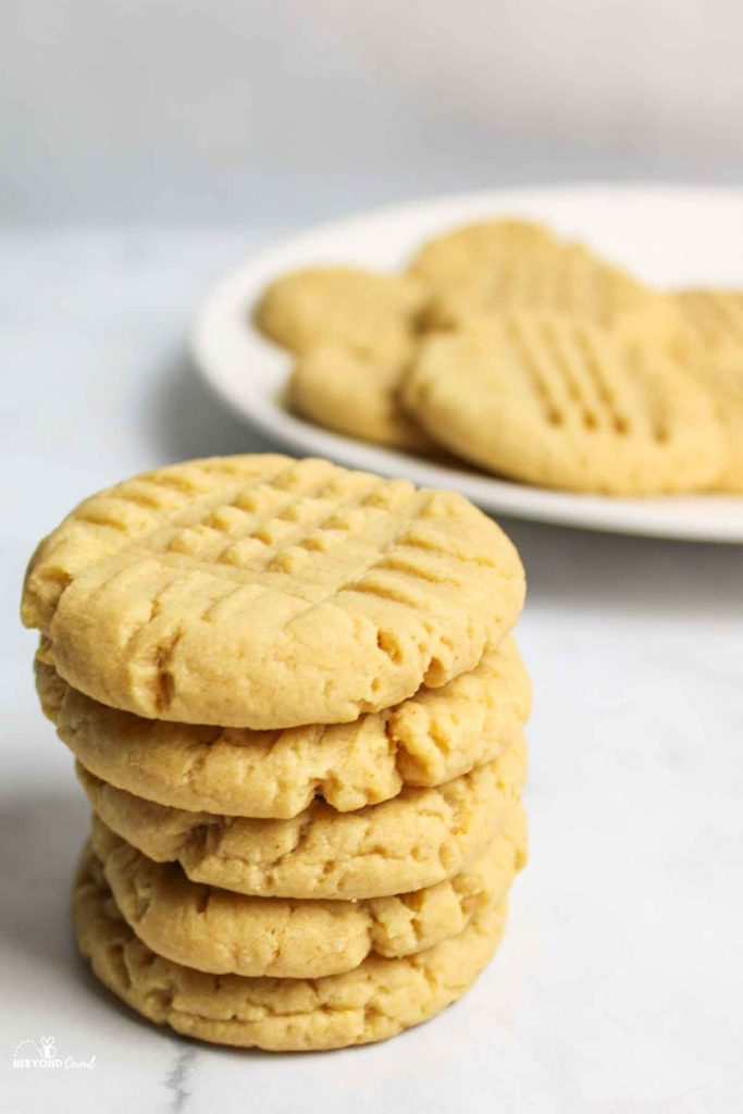 a close up of a stack of cake mix peanut butter cookies