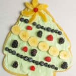 aerial view of decorated fruit pizza christmas tree