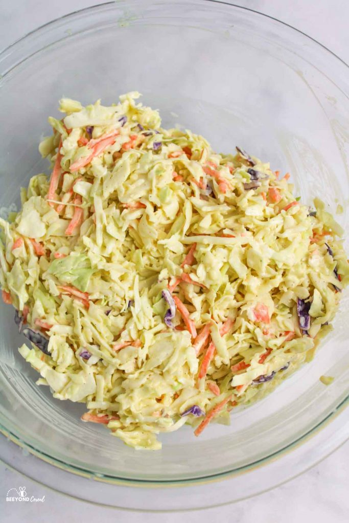 aerial view of creamy coleslaw in a bowl
