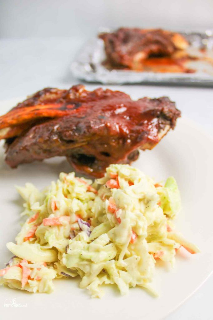 coleslaw next to ribs