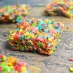 close up side view of fruity pebbles treats