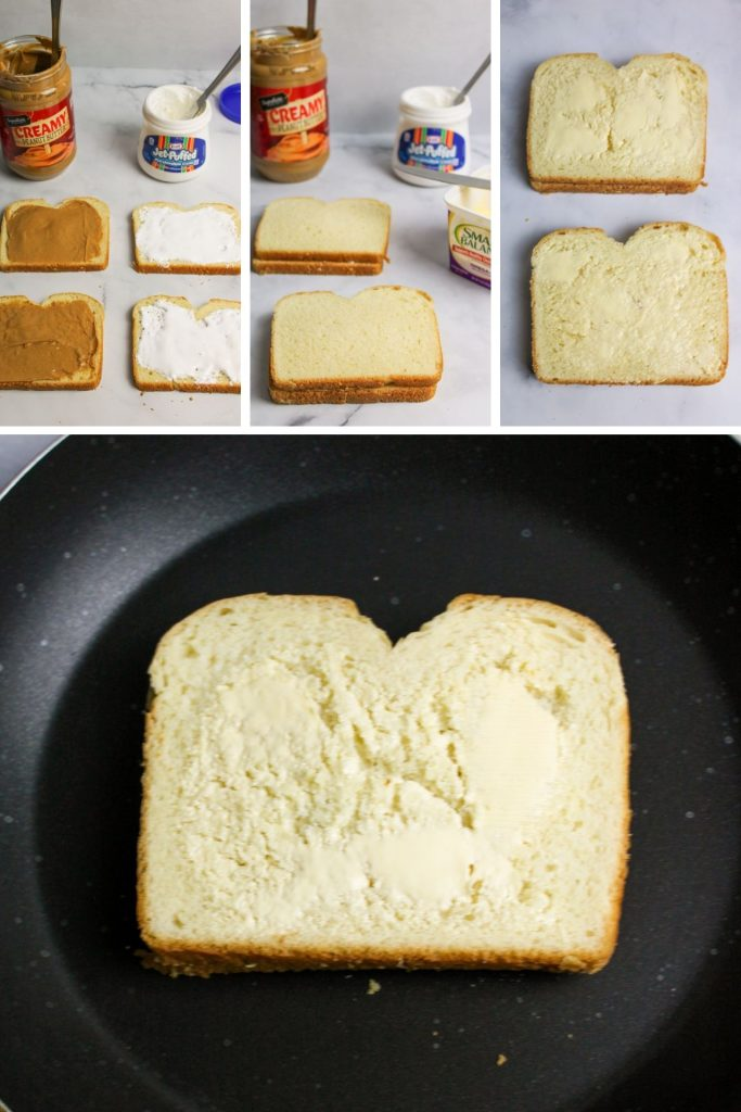 collage showing how to make grilled fluffernutters