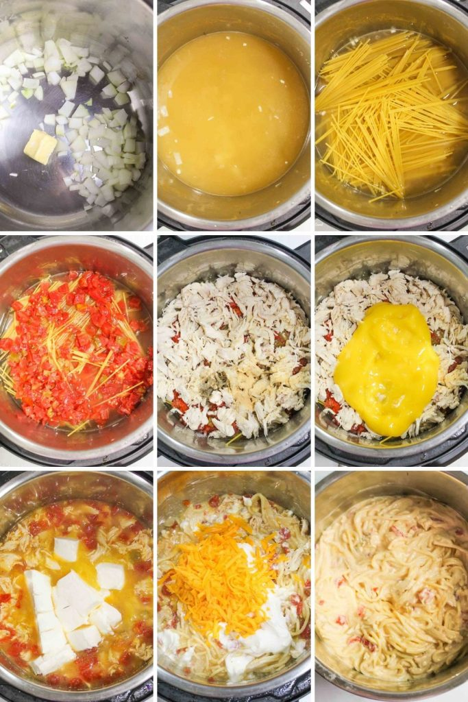 a collage showin how to make instant pot chicken spaghetti