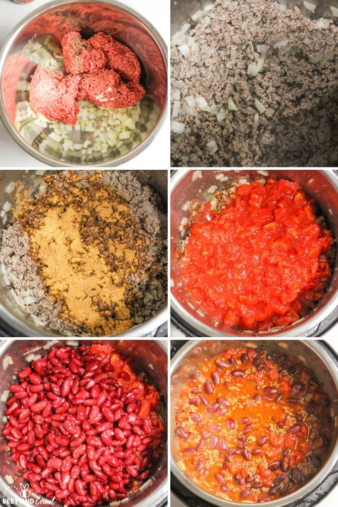 collage showing how to make instant pot chili