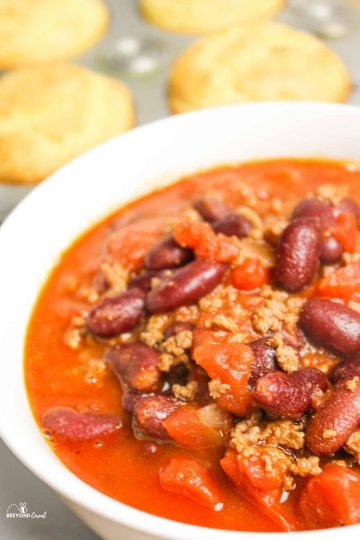 close up of instant pot chili in a bowl