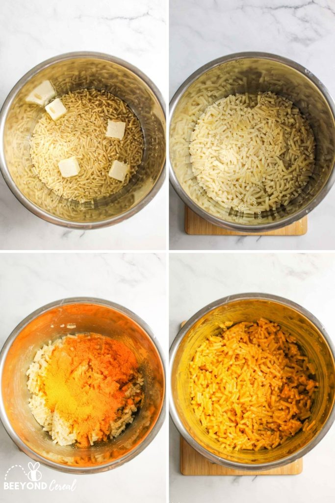 collage showing how to make instant pot kraft mac